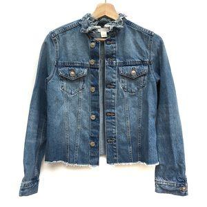 H&M Jean Denim Frayed Collar Hem Trucker Jacket